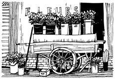 Wagen mit Blumen lizenzfreie abbildung