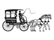 Wagen mit den Pferden, die Artvektor gravieren stock abbildung