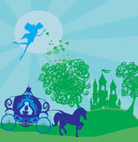 Wagen mit der Prinzessin geht zum magischen Schloss Lizenzfreies Stockbild