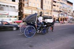 Wagen mit Pferd Stockfotografie