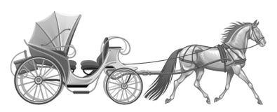 Wagen mit Pferd vektor abbildung