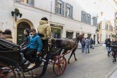 Wagen mit Pferd in Rom, Italien Stockfoto