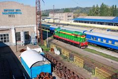 Wagendepot in Mariupol stock foto