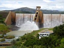 Wagendrift dam sluice gates open Royalty Free Stock Photos