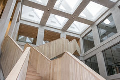 WAGENINGEN, HOLLAND, - JANUARY 26, 2016: Wageningen University and Research Centre in Wageningen. WAGENINGEN, HOLLAND, - JANUARY 26, 2016: Wooden staircase in a royalty free stock photos
