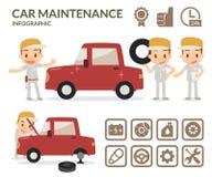 Wagenpflege infographic Satz Garagenikonen Lizenzfreie Stockbilder