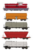 Wagens en Locomotief van de trein de de vastgestelde Vracht Stock Afbeeldingen