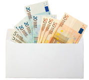 Wages. Money (euro) in the white envelope Royalty Free Stock Image