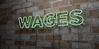 WAGES - Glowing Neon Sign on stonework wall - 3D rendered royalty free stock illustration. Can be used for online banner ads and direct mailers royalty free illustration