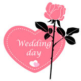 Wagging card in form of heart with pink rose flower Royalty Free Stock Images