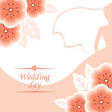 Wagging card with pink flowers bouquet decorated and silhouette Royalty Free Stock Image