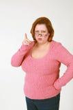 Wagging Finger der Frau Stockfoto
