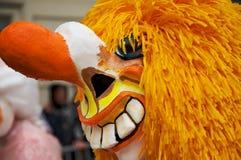 Waggis巴塞尔狂欢节面具的特写镜头在巴塞尔,瑞士 免版税库存图片