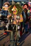 Waggis con i tamburi a Carnaval Basilea 2013 Fotografie Stock Libere da Diritti