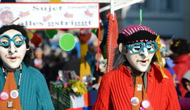 Waggis witches with blue glasses Carnaval Basel 2013 stock images
