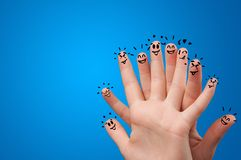 Happy fingers with brainstorming concept stock photo