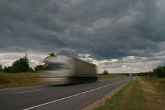 Waggon on road. Royalty Free Stock Images