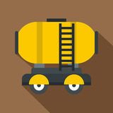 Waggon storage tank with oil icon, flat style. Waggon storage tank with oil icon. Flat illustration of waggon storage tank with oil vector icon for web Royalty Free Stock Image
