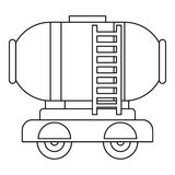 Waggon storage tank with oil icon, outline style. Waggon storage tank with oil icon. Outline illustration of waggon storage tank with oil vector icon for web Stock Photos