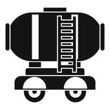 Waggon storage tank with oil icon, simple style. Waggon storage tank with oil icon. Simple illustration of waggon storage tank with oil icon for web vector illustration
