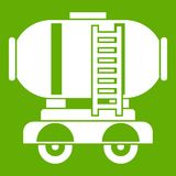 Waggon storage tank with oil icon green. Waggon storage tank with oil icon white isolated on green background. Vector illustration stock illustration