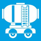 Waggon storage tank with oil icon white. Isolated on blue background vector illustration royalty free illustration