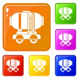 Waggon storage tank with oil icons set vector color. Waggon storage tank with oil icons set collection vector 6 color isolated on white background vector illustration