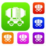 Waggon storage tank with oil set collection. Waggon storage tank with oil set icon in different colors isolated vector illustration. Premium collection Royalty Free Stock Images