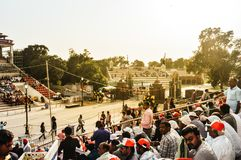 WAGHA BORDER, AMRITSAR, PUNJAB, INDIA - JUNE, 2017. People gathered in the lowering of flags ceremony. Its a daily military royalty free stock photos