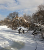 Wagner cove after snow storm Royalty Free Stock Image