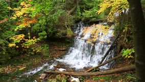 Wagner Falls in de herfst - Munising Michigan stock footage