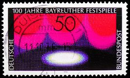 Wagnerian Stage, Bayreuth Festival serie, circa 1976. MOSCOW, RUSSIA - FEBRUARY 21, 2019: A stamp printed in Germany, Federal Republic shows Wagnerian Stage stock photos