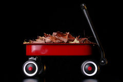 Wagon. A little red wagon filled with colorful leaves against a black background royalty free stock photography