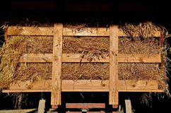 Wagon of Bundles of Oats. A steel wheeled hayrack is loaded with bundles of grain waiting to be threshed Royalty Free Stock Images