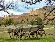 Wagon at Chimney Rock. Ghost Ranch, New Mexico, where Georgia O`keeffe lived and painted many of her most cherished works Stock Image