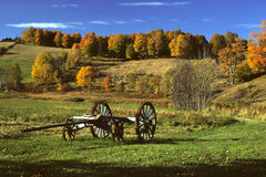 Wagon in Field. Old Wagon frame stock image