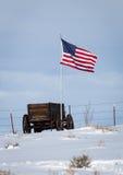 Wagon and Flag Stock Photography