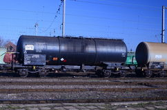 Wagon freight train. Waiting to leave the station stationed Stock Image