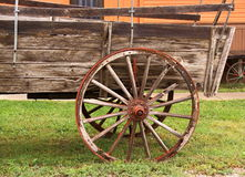Wagon in a Frontier town. Antique wagon parked in an early frontier South Dakota town Stock Images