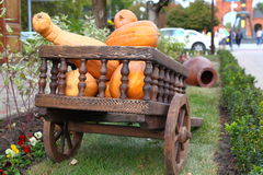 Wagon full of pumpkins Stock Images