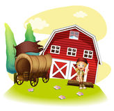 A wagon and a girl in front of the barnhouse. Illustration of a wagon and a girl in front of the barnhouse on a white background Royalty Free Stock Photos
