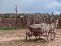 Wagon at hubbell trading post. When visiting Hubell tradingpost, this wagon was standing behind stock photography