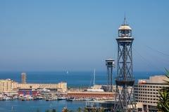 Wagon kolei linowej i port Barcelona, Catalonia - Hiszpania zdjęcie royalty free