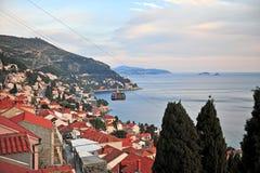 Wagon kolei linowej na zmierzchu, Dubrovnik obrazy royalty free
