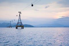 Wagon Kolei Linowej nad morzem Obraz Royalty Free