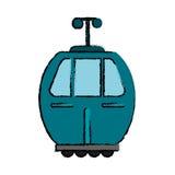 wagon kolei linowej przewieziona ikona ilustracji