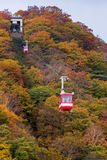Wagon kolei linowej przy Akechidaira plateau w jesieni Obraz Stock