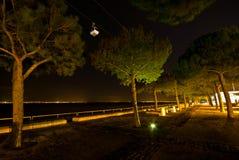 Wagon kolei linowej przy nocą Obrazy Stock