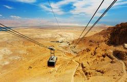 Wagon kolei linowej w fortecznym Masada Zdjęcia Royalty Free