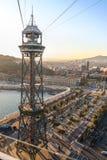Wagon kolei linowej w porcie Barcelona Zdjęcia Royalty Free